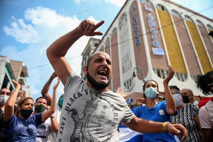 Protesters staged a rare protest against Cuba's Communist government in Havana last Sunday, chanting