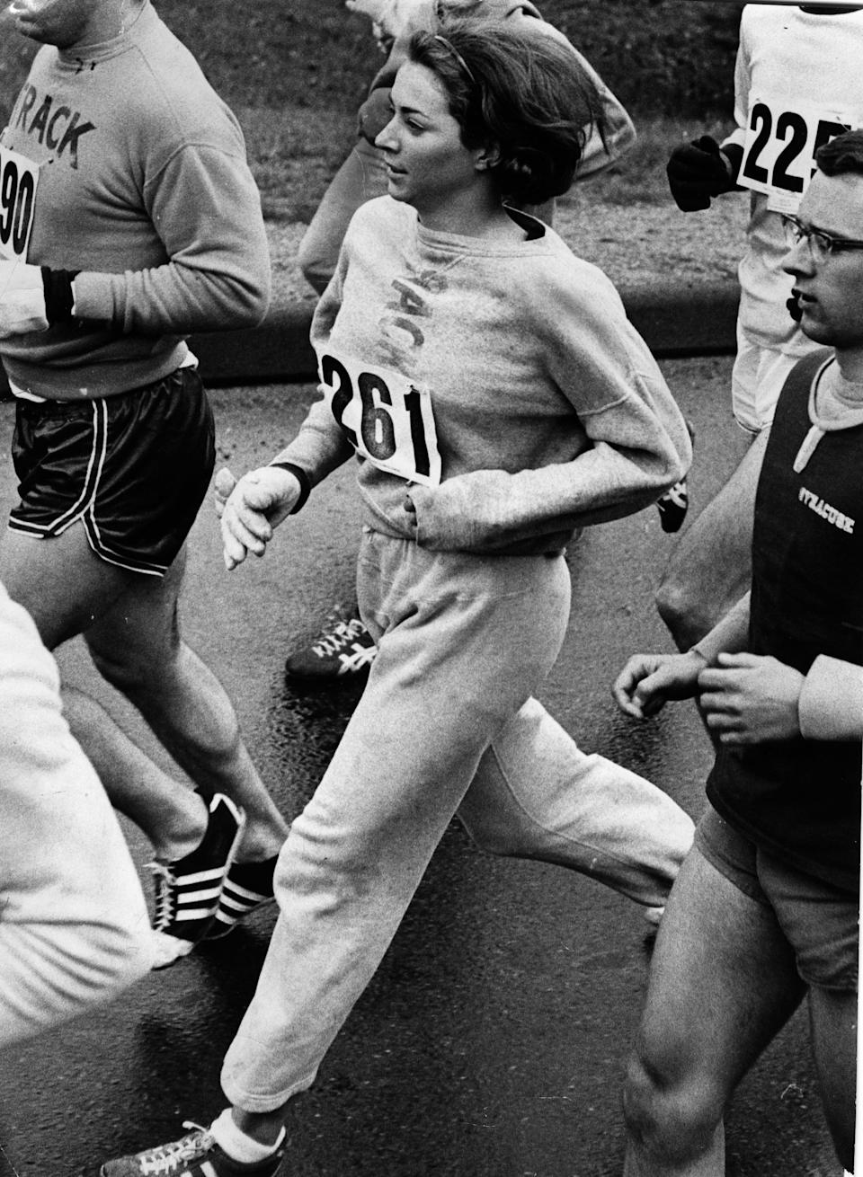 <p>Can you believe that it was as recent as 1967 that Katherine Switzer had to fight for a spot in the Boston marathon? She was famously banned from the race that year, all because she's a woman, and continued to run the race after an official tried to tackle her. She wore a gray sweatsuit with her Adidas sneakers, letting us all know (as if we needed a reminder), sweatsuits mean business.</p>
