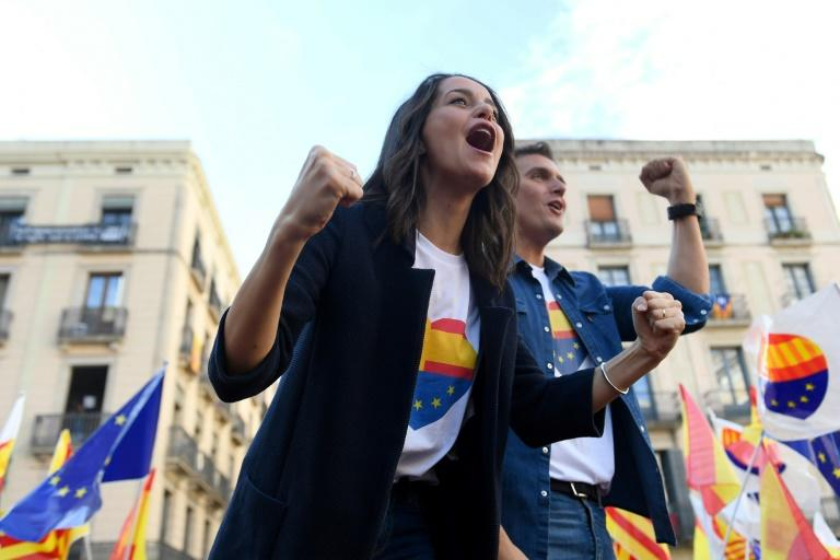 The centre-right Spanish party Ciudadanos rallied in Barcelona against Catalan separatism (AFP Photo/Josep LAGO)