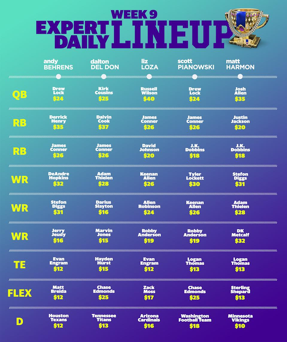 Expert Week 9 Daily Fantasy Lineup