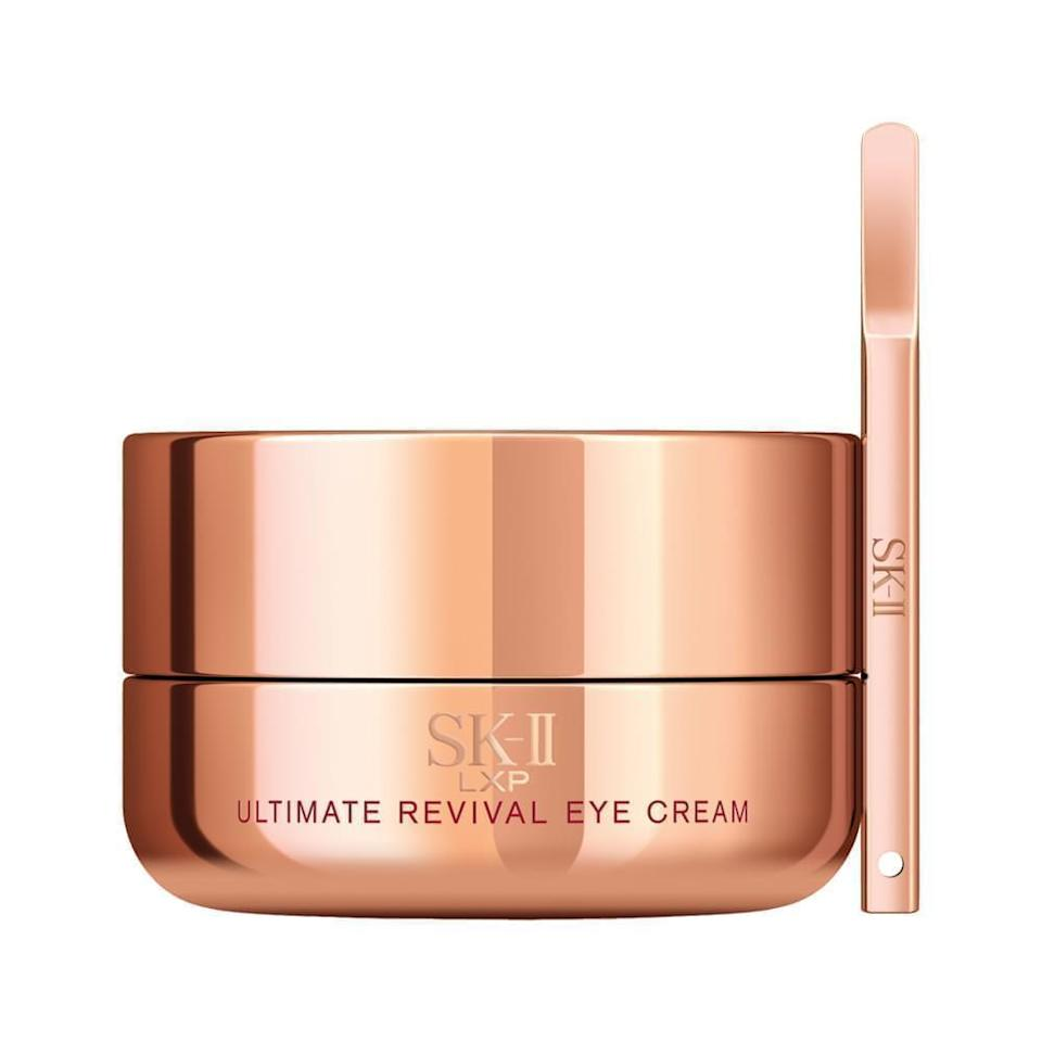 """Pitera is the ingredient that has made SK-II the global phenomenon it is today. And while we'd assume it's pretty highly concentrated in its <a href=""""https://www.allure.com/story/sk-ii-limited-edition-tokyo-olympics-facial-treatment-essence?mbid=synd_yahoo_rss"""" rel=""""nofollow noopener"""" target=""""_blank"""" data-ylk=""""slk:fan-favorite essence"""" class=""""link rapid-noclick-resp"""">fan-favorite essence</a>, the SK-II LXP Ultimate Revival Eye Cream has <em>eight times</em> more of the ingredient than any product before it. The result? A rich, deeply hydrating treatment that nourishes the area and provides vitamins and nutrients to brighten, firm, and prevent damage from pollution."""
