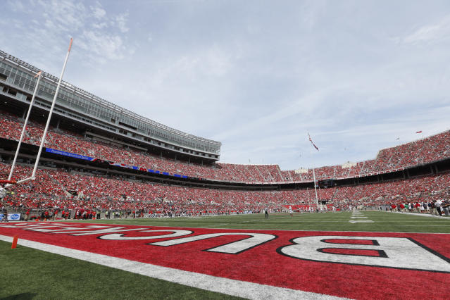 "Ohio State's move to trademark ""the"" has been denied. Initially, anyway. (AP Photo/Paul Vernon)"