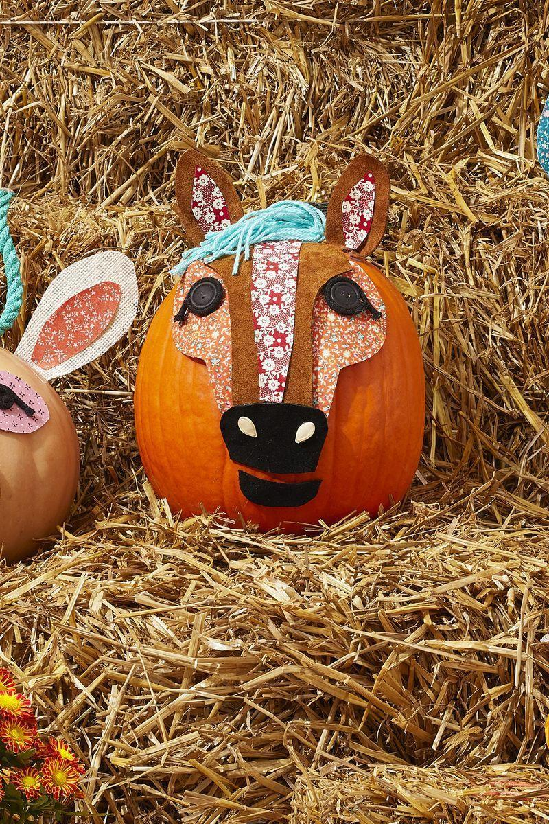 """<p>Whether you live on a farm or just love horses, you're bound to get a kick out of this craft. Use brown and black suede to create the ears and snout, turquoise yarn for the mane, and black buttons for the eyes. Two pumpkin seeds make up the horse's nostrils.</p><p><a class=""""link rapid-noclick-resp"""" href=""""https://go.redirectingat.com?id=74968X1596630&url=https%3A%2F%2Fwww.walmart.com%2Fsearch%2F%3Fquery%3Dsuede&sref=https%3A%2F%2Fwww.thepioneerwoman.com%2Fholidays-celebrations%2Fg32894423%2Foutdoor-halloween-decorations%2F"""" rel=""""nofollow noopener"""" target=""""_blank"""" data-ylk=""""slk:SHOP SUEDE"""">SHOP SUEDE</a></p>"""