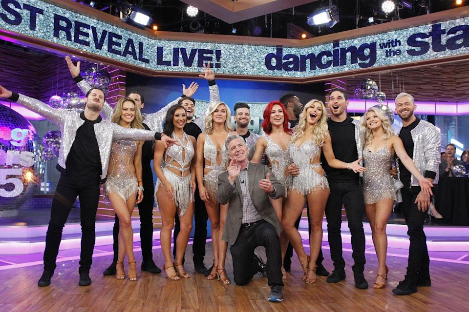 "<p>There is a ton of press attention that goes with appearing on <em>DWTS</em>. From revealing the team pairings to week by week elimination updates, the cast are <a href=""https://www.youtube.com/watch?v=vAlbuRvv0Y0"" rel=""nofollow noopener"" target=""_blank"" data-ylk=""slk:regulars on the morning talk show"" class=""link rapid-noclick-resp"">regulars on the morning talk show</a> circuit. </p>"