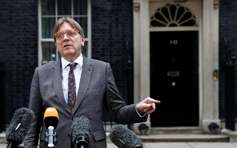Guy Verhofstadt outside 10 Downing Street on a visit to London earlier this year.  - REUTERS