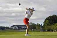Sei Young Kim, of South Korea, tees off on the 18th hole during the final round of the LPGA Pelican Women's Championship golf tournament Sunday, Nov. 22, 2020, in Belleair, Fla. Kim went on to win the tournament. (AP Photo/Chris O'Meara)