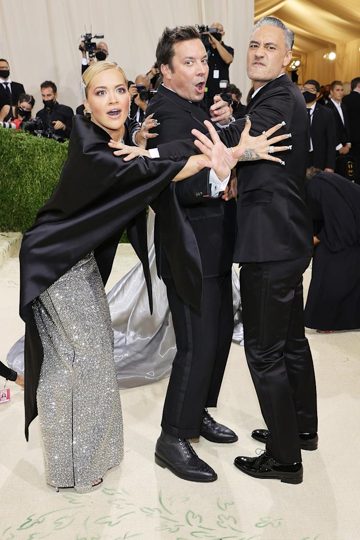 <p>Rita Ora, Jimmy Fallon and Taika Waititi bring the drama to the 2021 Met Gala Celebrating in America: A Lexicon of Fashion at Metropolitan Museum of Art on Sept. 13 in N.Y.C.</p>