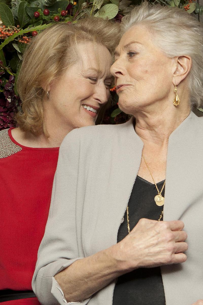 U.S actress Meryl Streep, left, talks to  British actress Vanessa Redgrave, right, at a central London cinema for an evening to pay homage to the Oscar-winning actress, called 'An Academy Salute to Vanessa Redgrave', Sunday, Nov. 13, 2011. (AP Photo/Joel Ryan)
