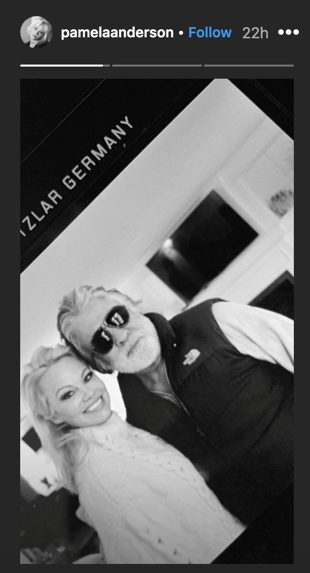 Pamela Anderson shared a photo with new husband Jon Peters. (Instagram Story)