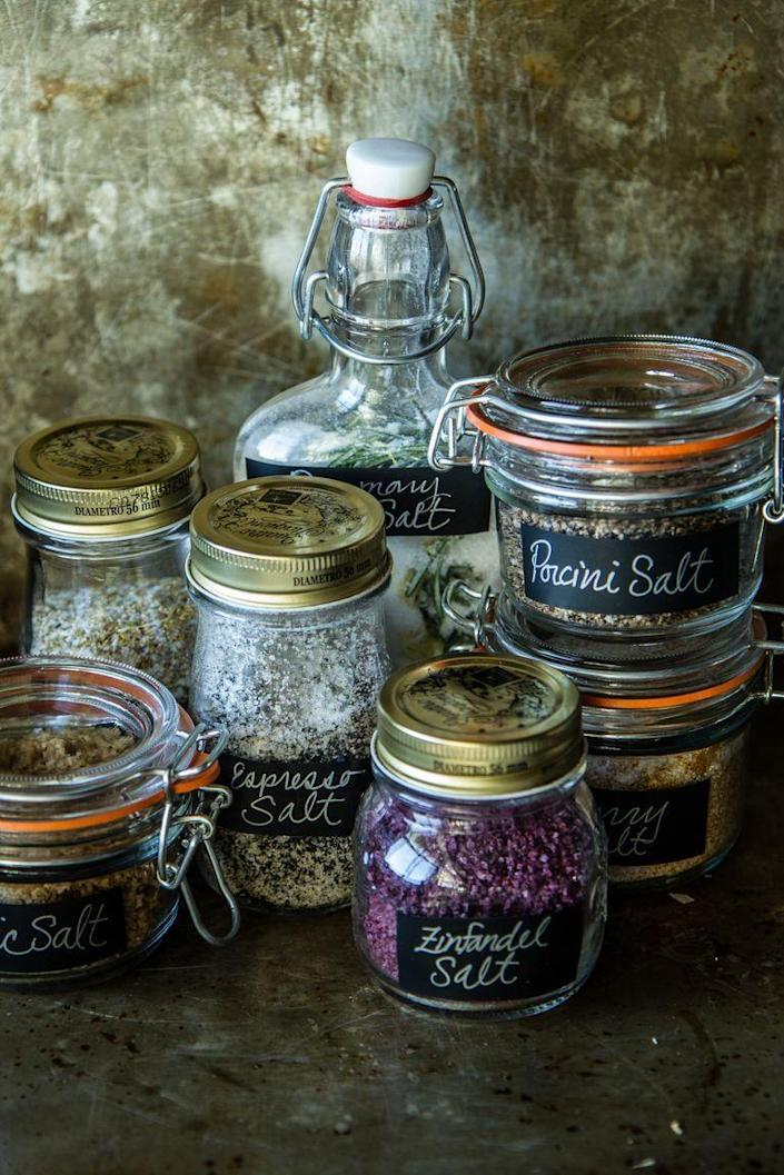 """<p>Give her a set of these homemade infused salts, and don't be surprised if she immediately wraps you up in a hug. It's such a sophisticated, fun gift for any foodie.</p><p><strong><a href=""""https://www.thepioneerwoman.com/food-cooking/cooking-tips-tutorials/a82040/how-to-infuse-salt/"""" rel=""""nofollow noopener"""" target=""""_blank"""" data-ylk=""""slk:Get the recipes."""" class=""""link rapid-noclick-resp"""">Get the recipes.</a></strong> </p><p><strong><a class=""""link rapid-noclick-resp"""" href=""""https://go.redirectingat.com?id=74968X1596630&url=https%3A%2F%2Fwww.walmart.com%2Fsearch%2F%3Fquery%3Dspice%2Bjars&sref=https%3A%2F%2Fwww.thepioneerwoman.com%2Fholidays-celebrations%2Fgifts%2Fg32307619%2Fdiy-gifts-for-mom%2F"""" rel=""""nofollow noopener"""" target=""""_blank"""" data-ylk=""""slk:SHOP SPICE JARS"""">SHOP SPICE JARS</a></strong></p>"""