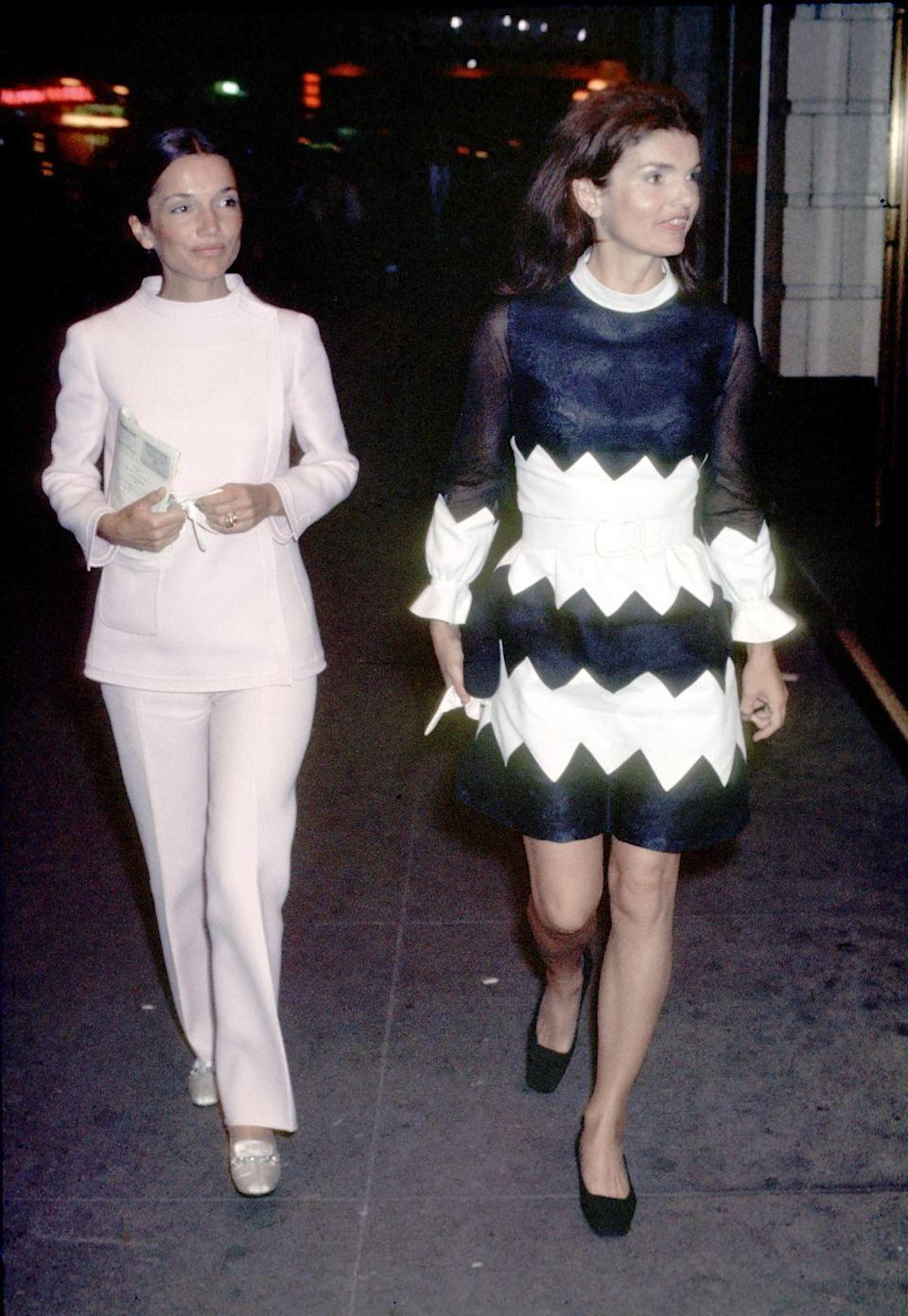 <p>Jackie and her sister Lee are spotted following a performance at the Alvin Theater in New York. </p>