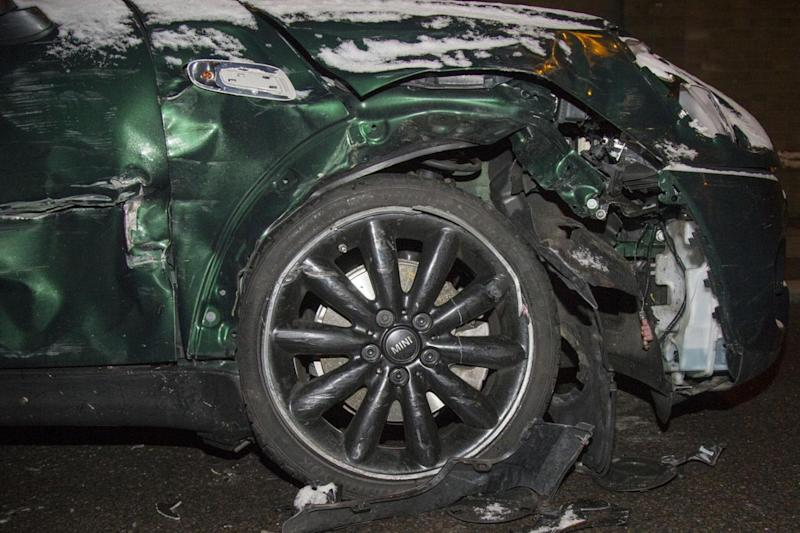 A close up of the damage done to the green mini (Splash News)