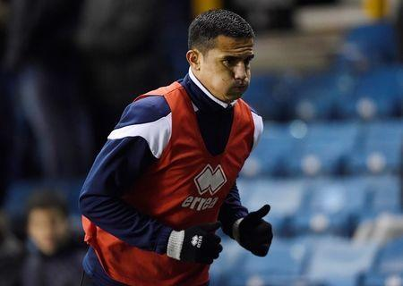 FILE PHOTO: Soccer Football - Championship - Millwall vs Cardiff City - The Den, London, Britain - February 9, 2018 Millwall's Tim Cahill warms up Action Images/Tony O'Brien