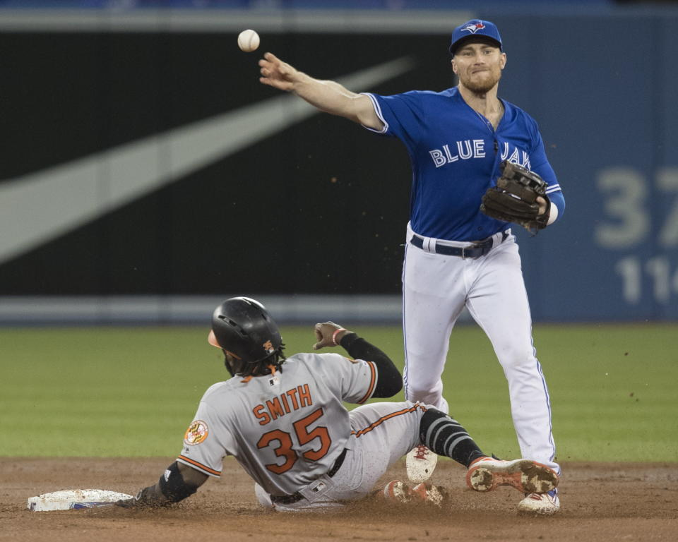 Baltimore Orioles' Dwight Smith Jr. (35) is out on the force out at second base as Toronto Blue Jays third baseman Brandon Drury turns the double play during the second inning of a baseball game, Wednesday, Sept. 25, 2019 in Toronto, (Fred Thornhill/The Canadian Press via AP)