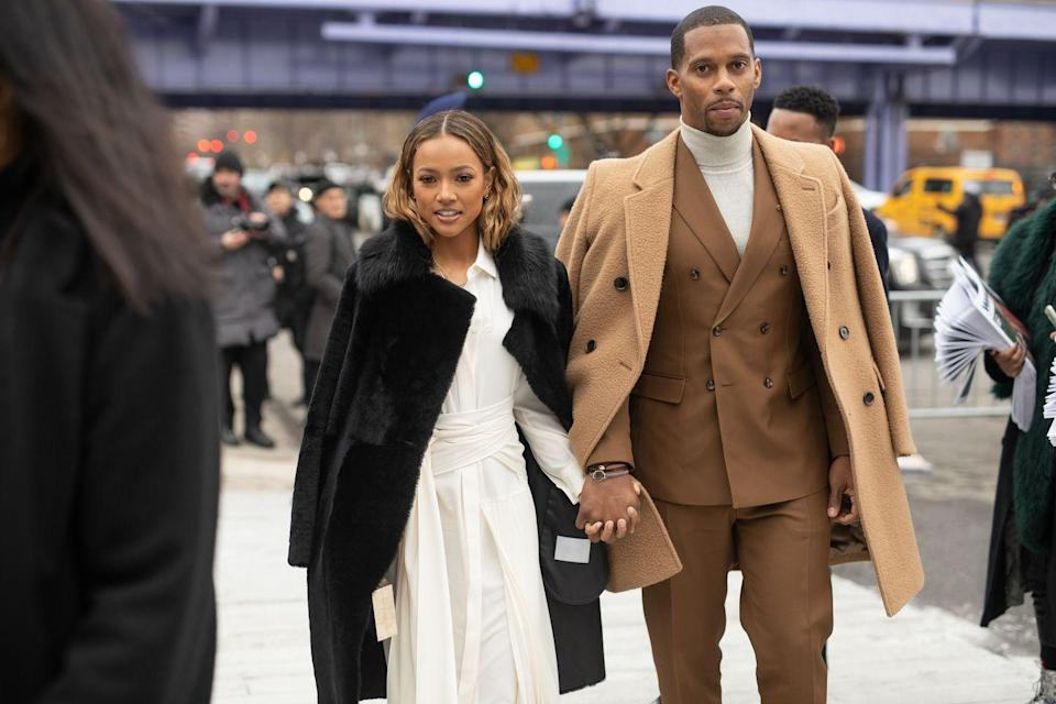 "<p><em>Claws </em>actress Karrueche Tran was first spotted with former wide receiver Victor Cruz <a href=""https://www.usmagazine.com/celebrity-news/news/karrueche-tran-nfl-star-victor-cruz-dating-doing-their-best-to-make-things-work/"" rel=""nofollow noopener"" target=""_blank"" data-ylk=""slk:in 2017"" class=""link rapid-noclick-resp"">in 2017</a>. The couple is still going strong three years later, and Karrueche has even met Victor's daughter, Kennedy. ""They've obviously met a handful of times and she brought her a toy when she first met [Kennedy] and that was it,""<a href=""https://www.usmagazine.com/celebrity-moms/news/victor-cruz-describes-karrueche-trans-relationship-with-his-daughter/"" rel=""nofollow noopener"" target=""_blank"" data-ylk=""slk:Victor told Us Weekly"" class=""link rapid-noclick-resp""> Victor told <em>Us Weekly</em></a>. ""They hit it off immediately and they get along great. It's been fun because Kennedy is a smart kid so for her to gravitate to someone like that was great for me to see.""</p>"