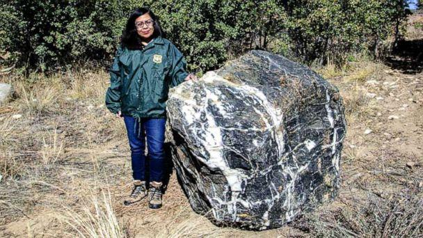 PHOTO: Wizard Rock, a boulder weighing 1 ton that disappeared from Prescott National Forest in Arizona last month, has 'magically' reappeared, according to forest officials. (U.S. Forest Service)