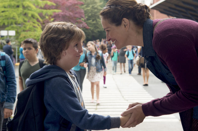"Jacob Tremblay and Julia Roberts in ""Wonder,"" based on the bestseller by R.J. Palacio. (Lionsgate)"