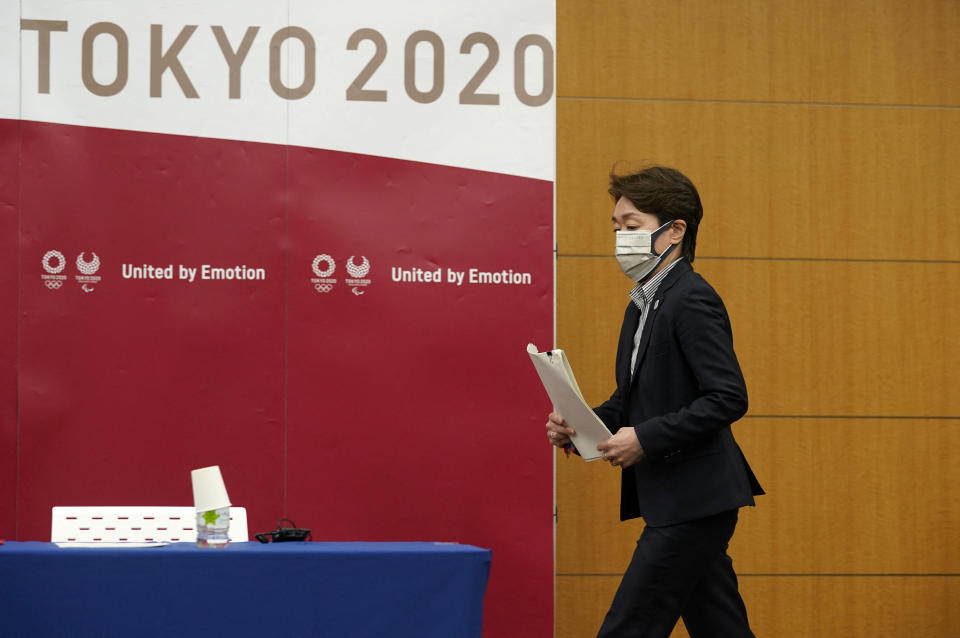 Tokyo 2020 Organising Committee president Seiko Hashimoto arrives for a press conference after attending a five-party meeting of the Tokyo 2020 Olympic and Paralympic Games in Tokyo on April 28, 2021. (Photo by Franck ROBICHON / POOL / AFP) (Photo by FRANCK ROBICHON/POOL/AFP via Getty Images)