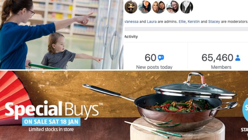 A woman and child grocery shopping on the top left, Aldi Mums Facebook group on the top right and a wok on sale at Aldi on the bottom.