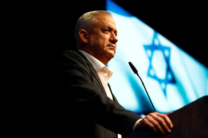FILE PHOTO: Benny Gantz attends an election campaign rally in Ramat Gan