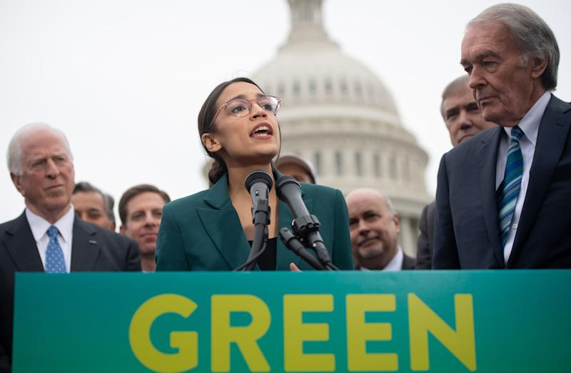 Congresswoman Alexandria Ocasio-Cortez speaks during a March press conference to announce Green New Deal legislation to promote clean energy programs. Republicans are looking to corner Democratic presidential hopefuls over an expensive, economy-upending plan proposed by the party's liberal left wing.