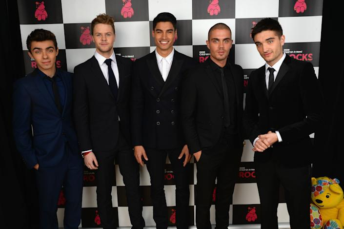Nathan Sykes, Jay McGuiness, Siva Kaneswaran, Max George and Tom Parker of The Wanted pose backstage during the 'BBC Children In Need Rocks' at Eventim on November 12, 2013 in London, England. (Photo by Dave J Hogan/Getty Images)
