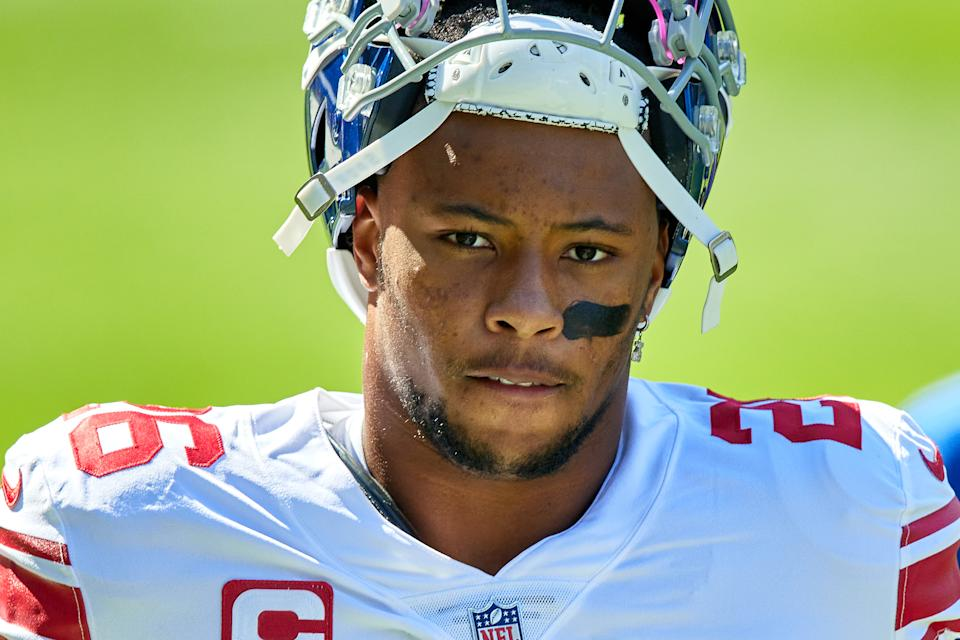 Saquon Barkley's return from injury is a big New York Giants storyline this season. (Photo by Robin Alam/Icon Sportswire via Getty Images)
