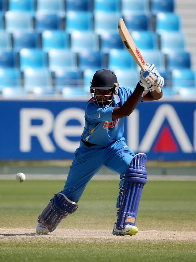 DUBAI, UNITED ARAB EMIRATES - FEBRUARY 15: Sanju Samson bats during the ICC U19 Cricket World Cup 2014 match between India and Pakistan at the Dubai Sports City Cricket Stadium on February 15, 2014 in Dubai, United Arab Emirates. (Photo by Francois Nel - IDI/IDI via Getty Images)