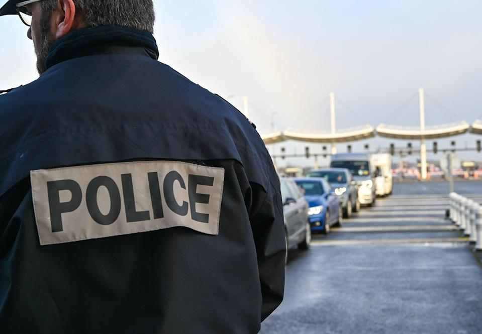 <p>French police patrolling the UK entrance to the Channel Tunnel (file image)</p> (PA)