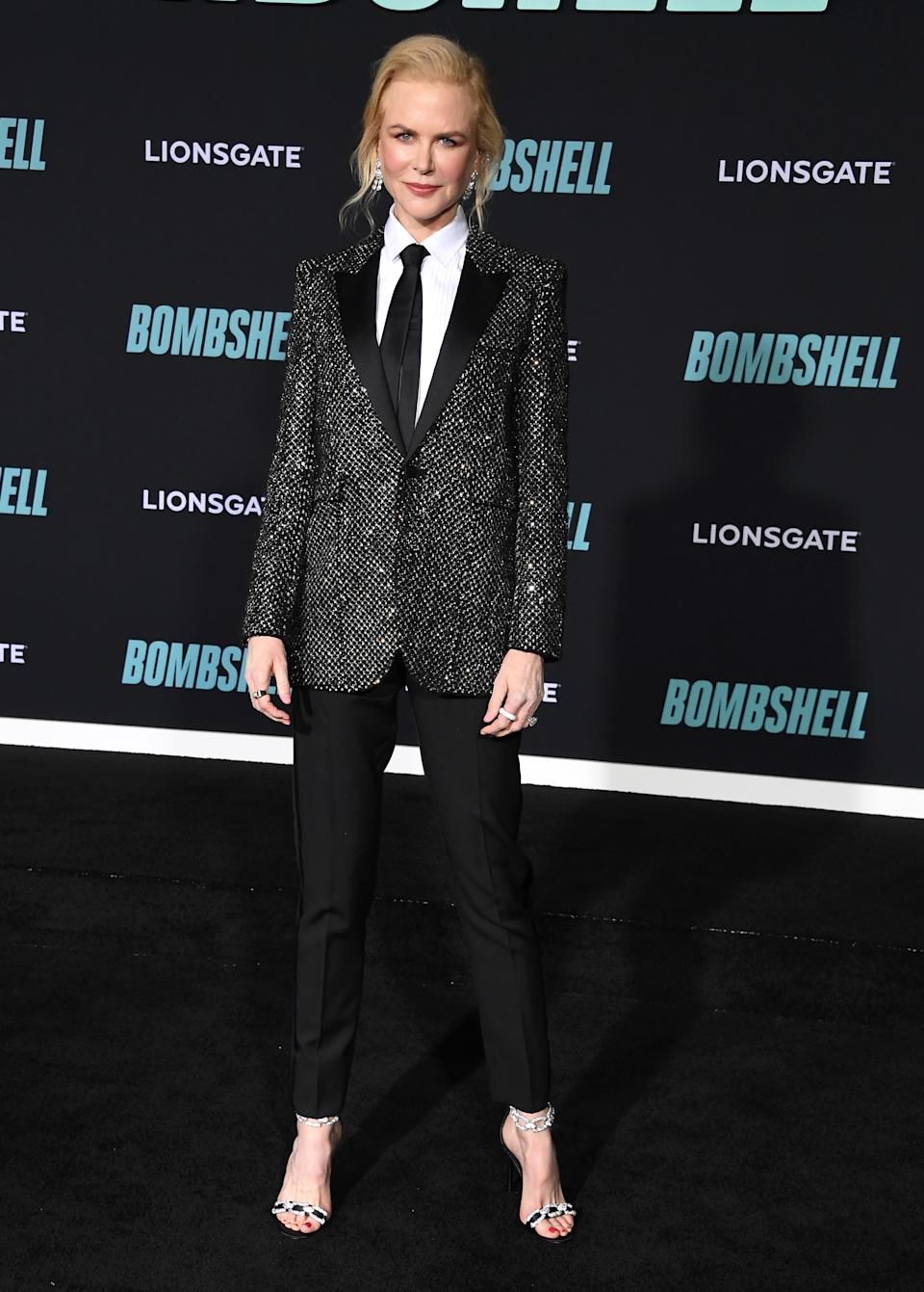 Nicole Kidman pictured wearing her Saint Laurent suit at the 'Bombshell' screening. [Photo: Getty]