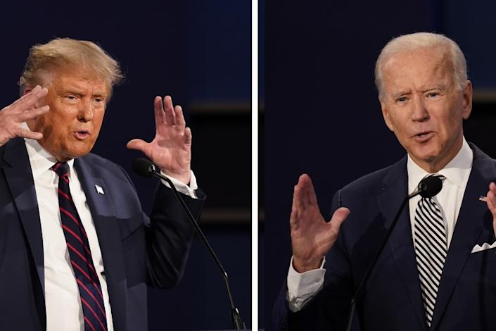U.S. President Donald Trump and Democratic presidential nominee Joe Biden participate in the first presidential debate
