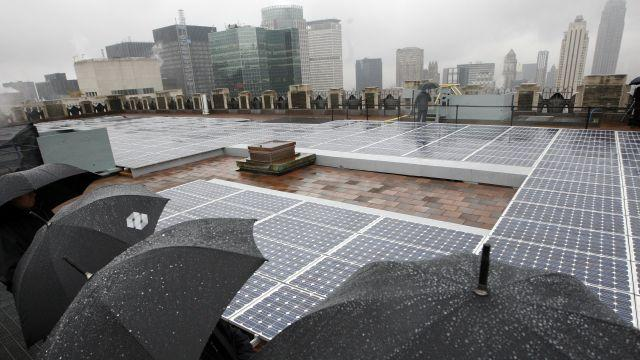 Scientists hope to make solar panels work effectively in rain.