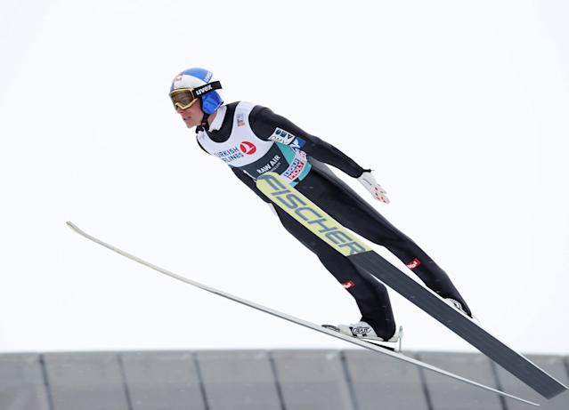 FIS Ski Jumping World Cup - Men's HS134 - Oslo, Norway - March 11, 2018. Gregor Schlierenzauer of Austria competes. NTB Scanpix/Terje Bendiksby via REUTERS ATTENTION EDITORS - THIS IMAGE WAS PROVIDED BY A THIRD PARTY. NORWAY OUT. NO COMMERCIAL OR EDITORIAL SALES IN NORWAY.
