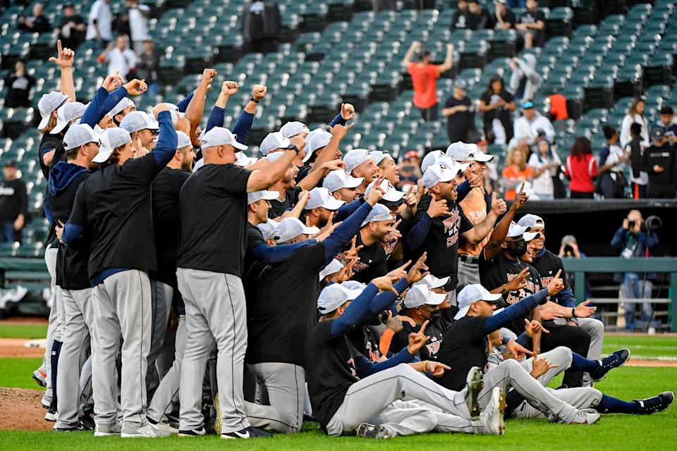 ALDS Game 4: Astros players celebrate on the field after the win.