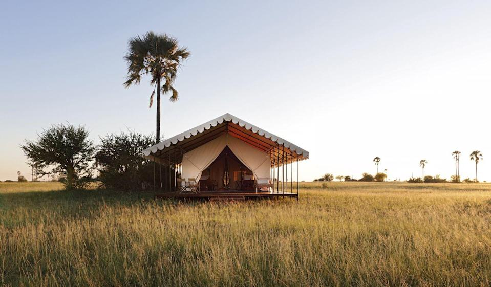 """<p>If you're the adventurous sort, San Camp is for you. The off-the-grid haven is a bucket-list destination that's perfect for a honeymoon. Situated on the edge of the Nwetwe Pan in Botswana's Makgadikgadi, a salt pan in the middle of the dry savanna, this seven-tent retreat is a feast for every sense. Here, a billowy tent is your home in the middle of nowhere—where all you have is time with that special someone and the wildlife around you. Take game drives at night to see the ecosystem come alive, or travel across the salt-crusted earth by quad-bike. The accommodations are minimalist meets luxury, and chef-prepped food will not leave you hungry.</p><p><a class=""""link rapid-noclick-resp"""" href=""""https://naturalselection.travel/camps/san-camp/"""" rel=""""nofollow noopener"""" target=""""_blank"""" data-ylk=""""slk:Book"""">Book</a></p>"""