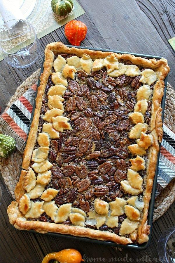 """<p><b>Recipe: <a href=""""https://www.homemadeinterest.com/pecan-slab-pie/"""" target=""""_blank"""">Pecan Slab Pie</a></b></p> <p><a href=""""http://www.southernliving.com/recipes/utterly-deadly-southern-pecan-pie-recipe"""">Pecan pie</a> is practically required to be served at Southern Thanksgiving dinners, and this recipe has a short ingredient list and high yield for your biggest gathering.</p>"""