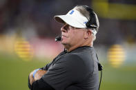 UCLA coach Chip Kelly watches from the sideline during the first half of the team's NCAA college football game against Fresno State on Saturday, Sept. 18, 2021, in Pasadena, Calif. (AP Photo/Marcio Jose Sanchez)