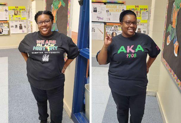 PHOTO: During Black History Month at Creekside Elementary School, Latoya McGriff also honored historically black colleges and universities, HBCUs, and organizations with black Greek letters. (Courtesy of Latoya McGriff)