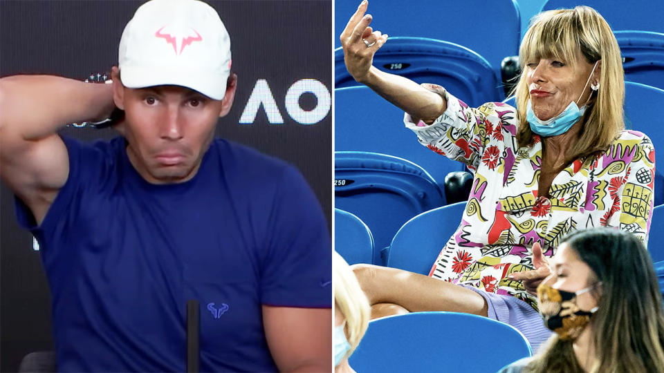 Rafael Nadal, pictured here reacting to the woman's abuse at the Australian Open.