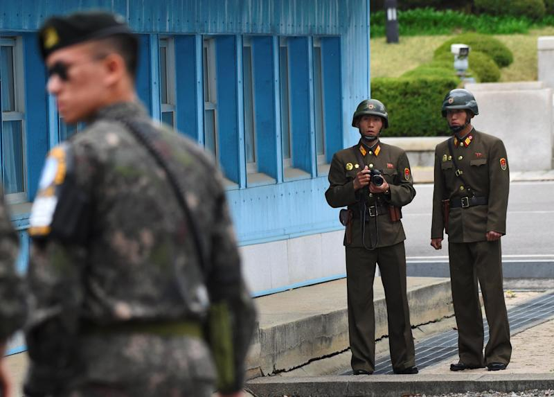 North Korean soldiers patrol the Demilitarised Zone, the border between North and South Korea: AFP