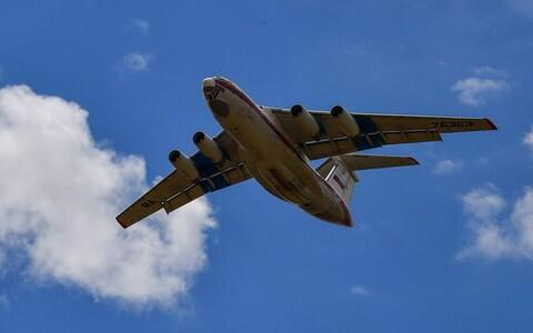 A second Russian AN-124 cargo plane transporting parts of the S-400 air defence system comes into land - Credit: Getty Images