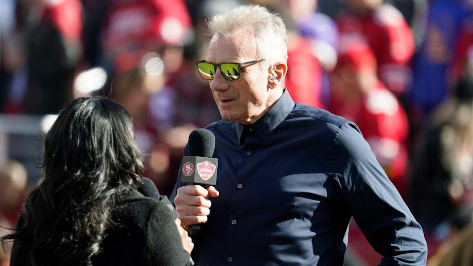 Mandatory Credit: Photo by Tony Avelar/AP/Shutterstock (10523359bm)Former San Francisco 49ers quarterback Joe Montana is interviewed before an NFL divisional playoff football game between the San Francisco 49ers and the Minnesota Vikings, in Santa Clara, CalifVikings 49ers Football, Santa Clara, USA - 11 Jan 2020.