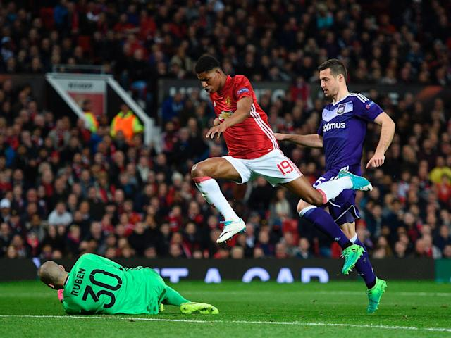 Rashford leaps clear of Ruben: Getty