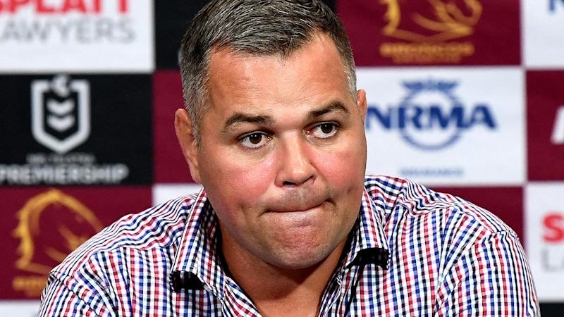 Anthony Seibold, pictured here speaking to the media.