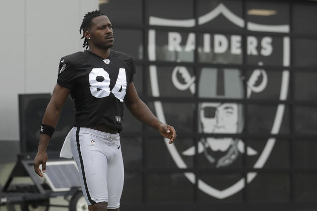 Raiders coach Jon Gruden said wideout Antonio Brown practiced Tuesday with the proper helmet. (AP)