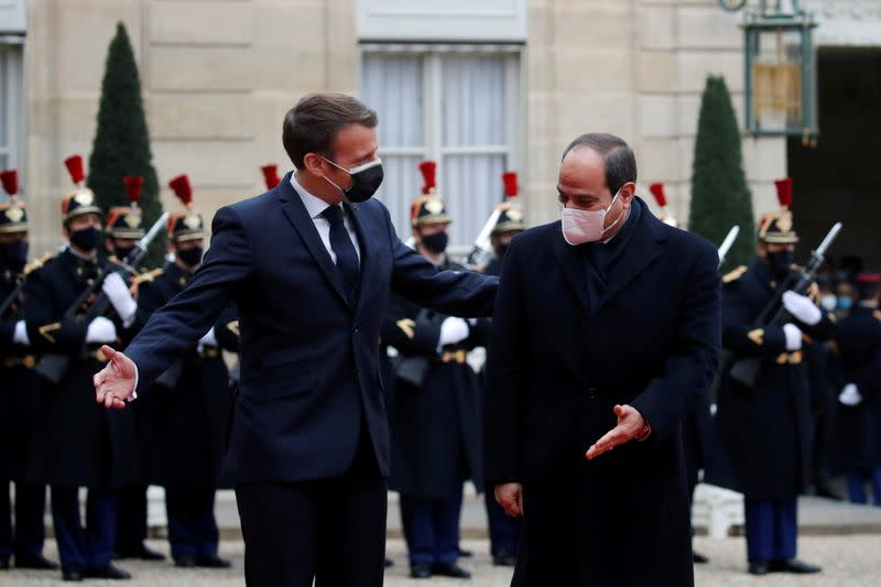 FILE PHOTO: French President Macron meets Egyptian President Fattah al-Sissi in Paris