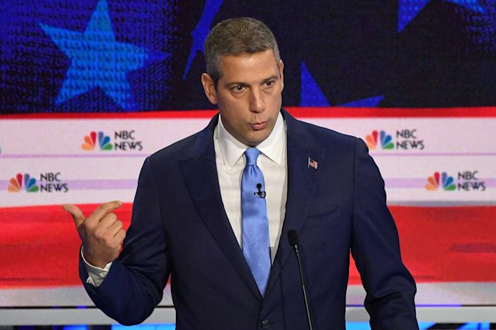 Democratic presidential hopeful US Representative for Ohio's 13th congressional district Tim Ryan speaks during the first Democratic primary debate of the 2020 presidential campaign season hosted by NBC News at the Adrienne Arsht Center for the Performing Arts in Miami, Florida, June 26, 2019.   Jim Watson—AFP/Getty Images