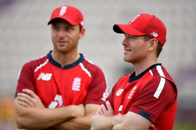 Both Jos Buttler, left, and Eoin Morgan believe India are favourites to lift the T20 World Cup this year (Dan Mullan/PA)
