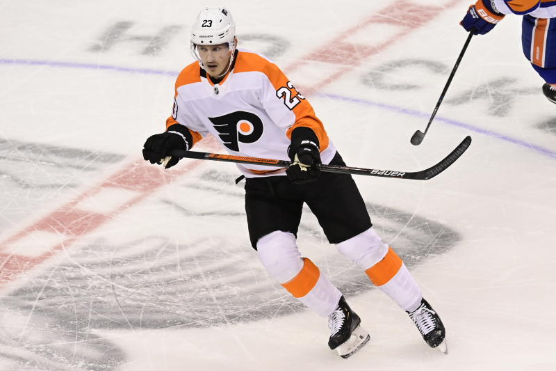 Philadelphia Flyers left wing Oskar Lindblom, returning to the lineup after battling cancer, skates up the ice during the second period against the New York Islanders in Game 6 of an NHL hockey second-round playoff series in Toronto on Thursday, Sept. 3, 2020. (Frank Gunn/The Canadian Press via AP)