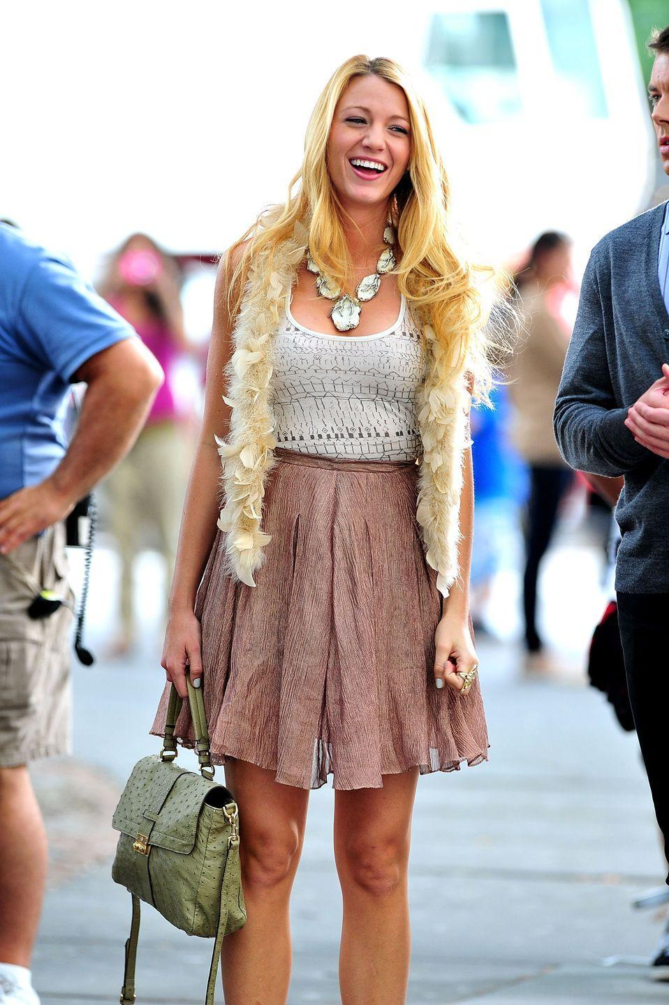 <p>While filming on location in New York City for <em>Gossip Girl</em>, viewers often got a sneak peek of Blake Lively's trendsetting wardrobe on the show.</p>